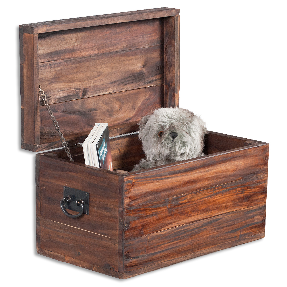 Möbel aus recyceltem holz  Truhe TINI Dark-Brown 50cm aus recyceltem Holz 6371