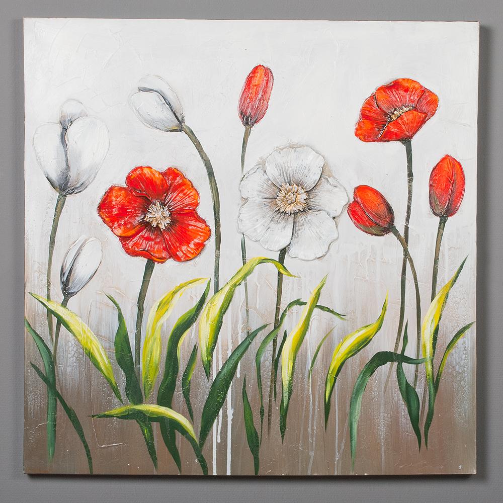 3d wandbild flowers 100x100cm auf leinwand holz keilrahmen acryl handgemalt 6375. Black Bedroom Furniture Sets. Home Design Ideas
