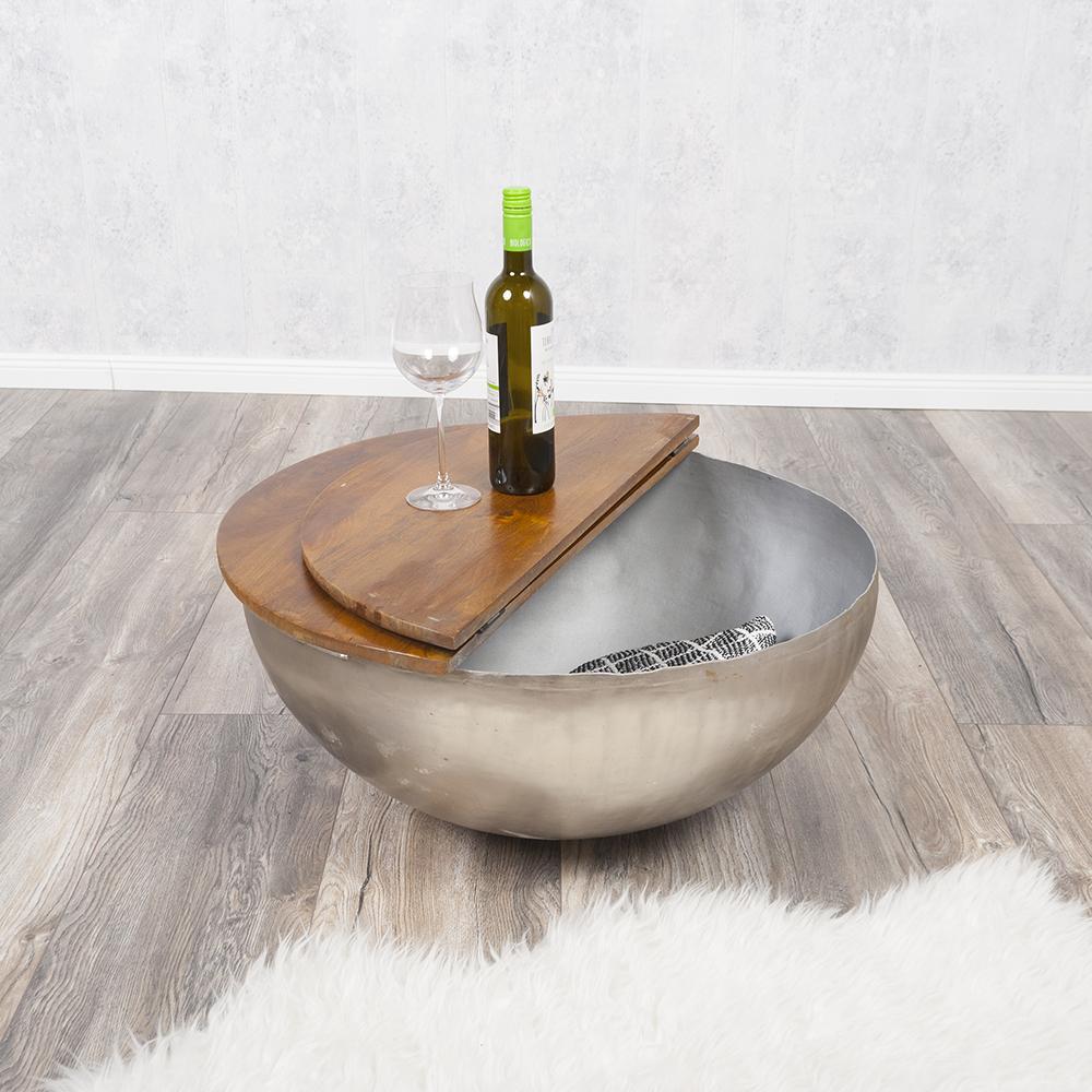 couchtisch beistelltisch basni 70cm in stone s aus mangoholz metall 6388. Black Bedroom Furniture Sets. Home Design Ideas