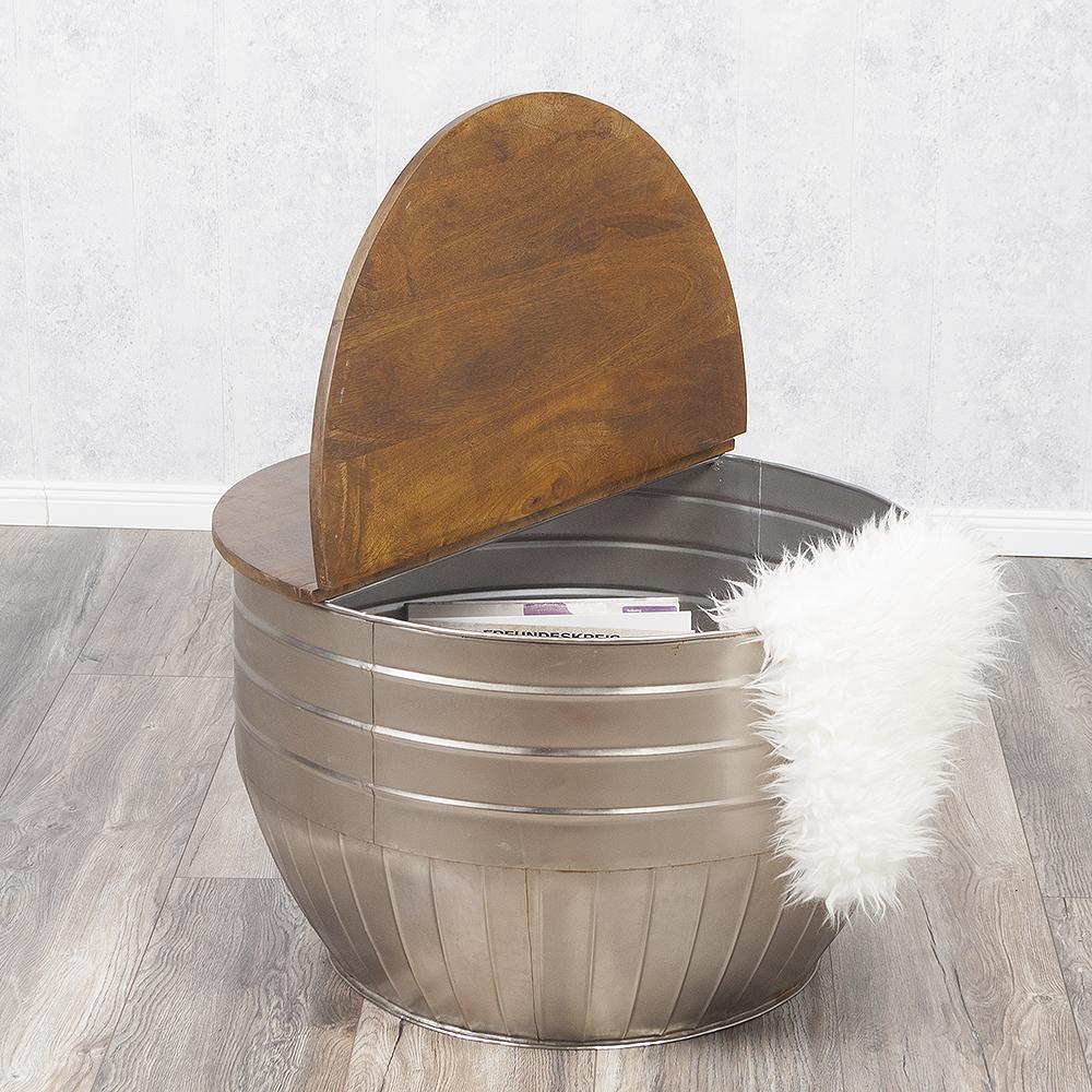 couchtisch tan stone s mangoholz metall industrie design beistelltisch 76cm rund ebay. Black Bedroom Furniture Sets. Home Design Ideas