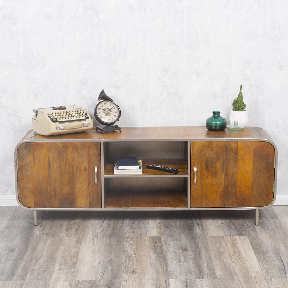 tv board rajendra in stone s aus massivem mangoholz retro. Black Bedroom Furniture Sets. Home Design Ideas
