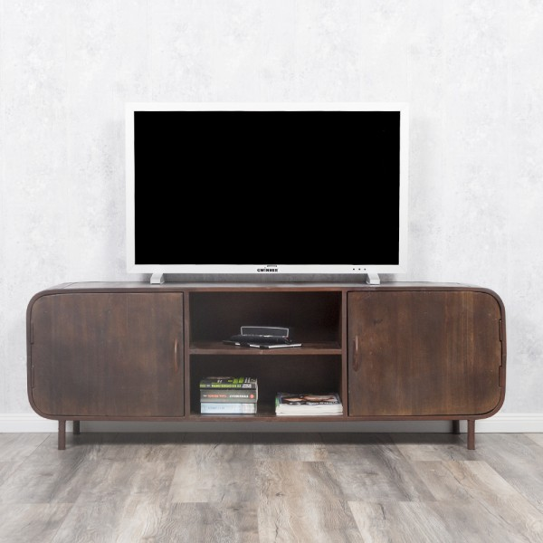 TV-Board RAJENDRA in Natur-S aus Recycled Wood Retro-Stil Lowboard 160cm – Bild 3