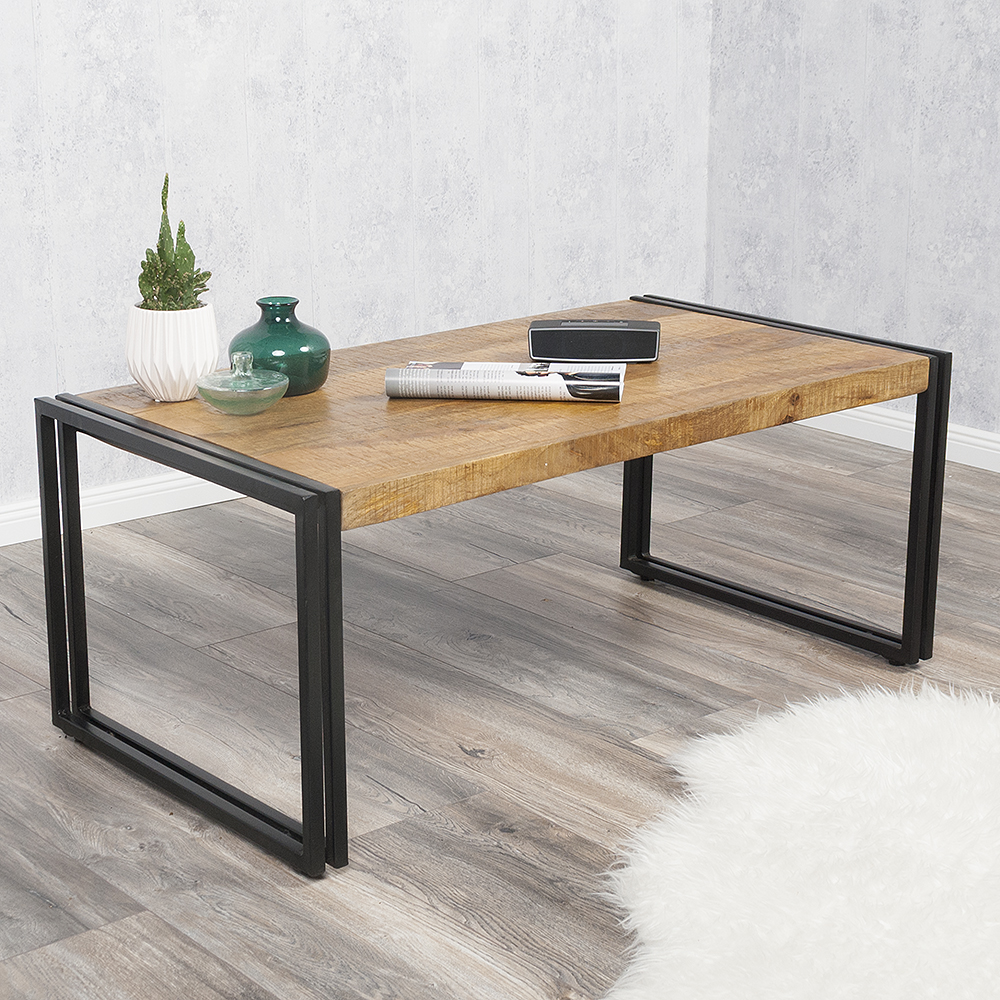 couchtisch durar mango rough massiv holz industrial design 90x60cm tv sideboard ebay. Black Bedroom Furniture Sets. Home Design Ideas