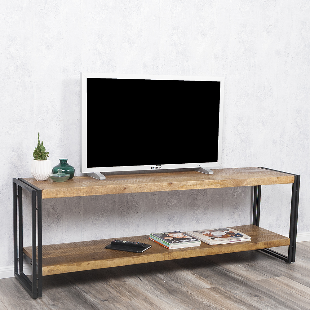 sideboard durar mango rough massiv industrial design 180cm low board tv regal ebay. Black Bedroom Furniture Sets. Home Design Ideas