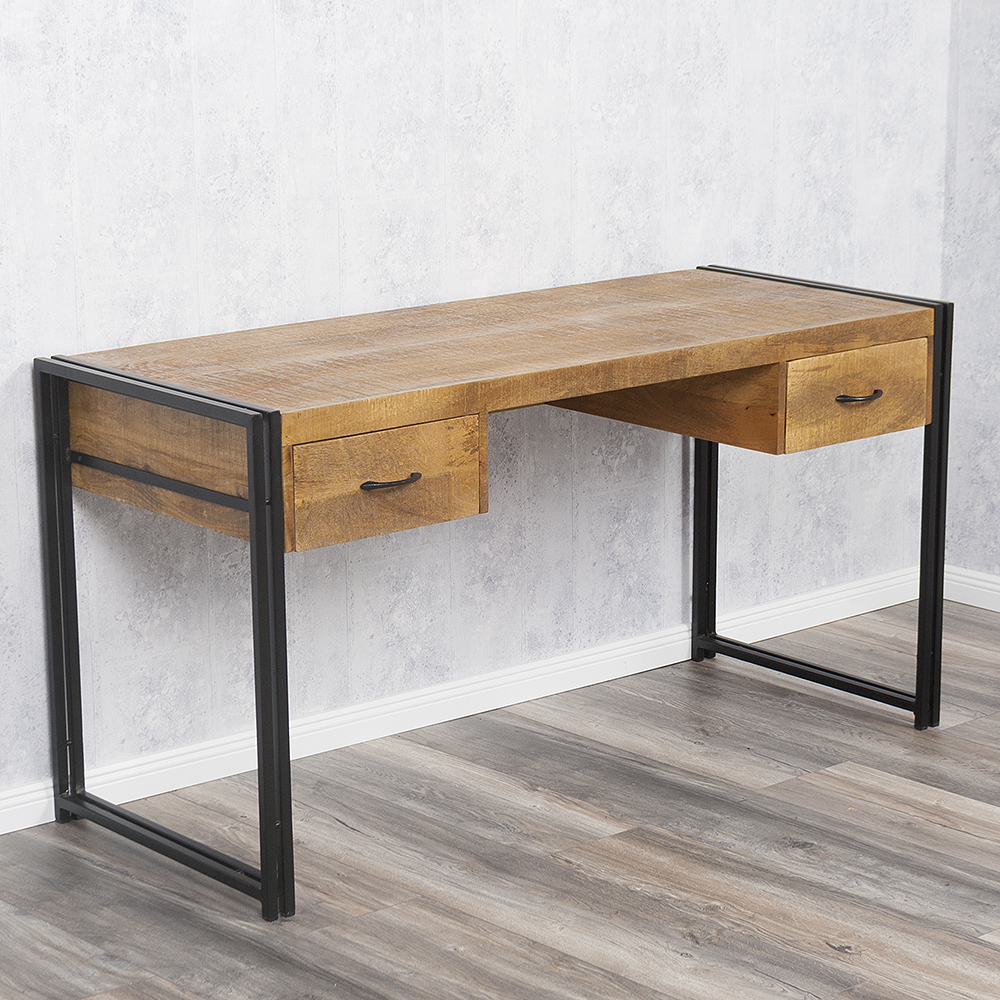 schreibtisch durar mango rough massiv industrial design 150cm sekret r tisch ebay. Black Bedroom Furniture Sets. Home Design Ideas