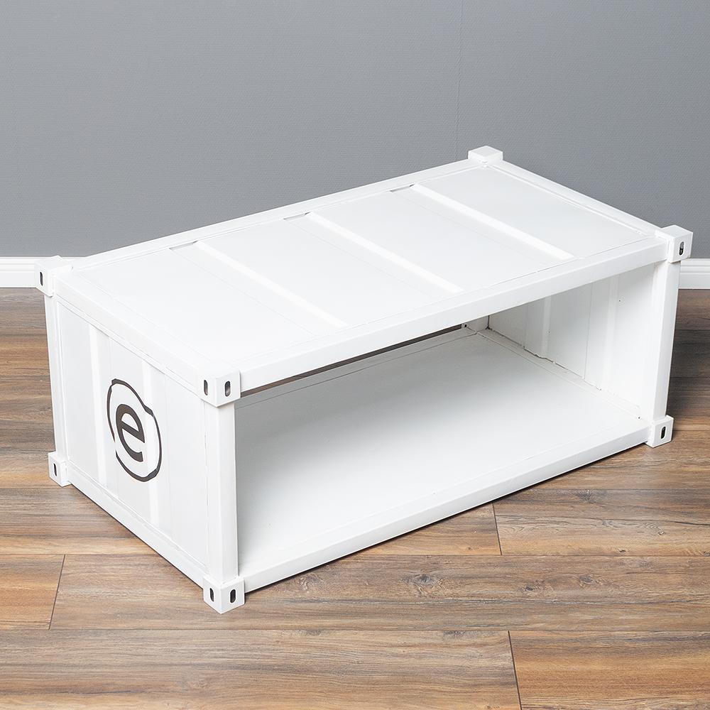 Couchtisch/TV-Board CONTAINER in Weiß im Industrie-Design 110cm 6413