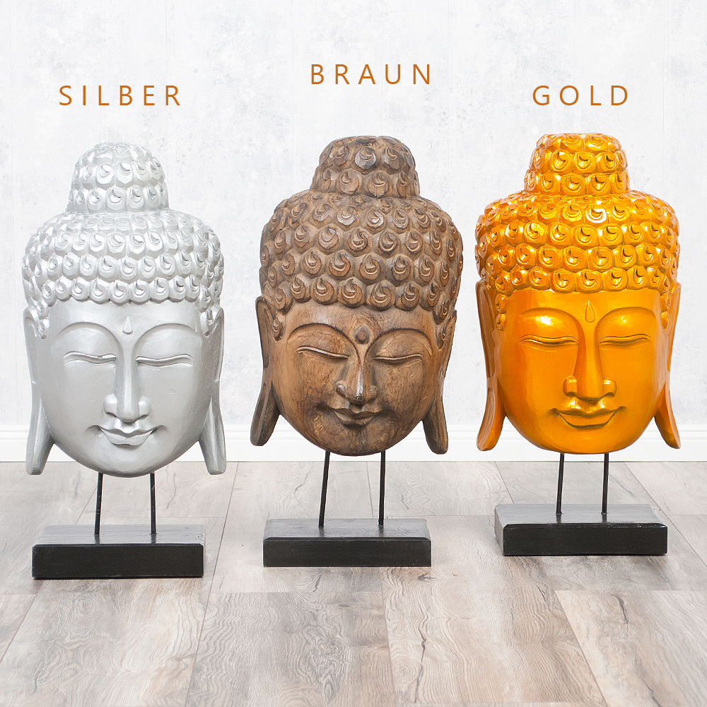 buddha maske kepala auf standfu silber albasia holz handarbeit deko figur ebay. Black Bedroom Furniture Sets. Home Design Ideas