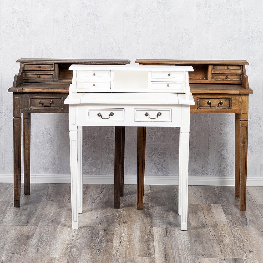 schreibtisch sekret r ilena antique white aus keruing. Black Bedroom Furniture Sets. Home Design Ideas