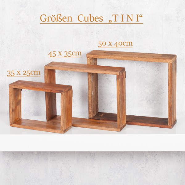 Cube / Wandregal TINI 50x40cm Recycled Wood – Bild 6