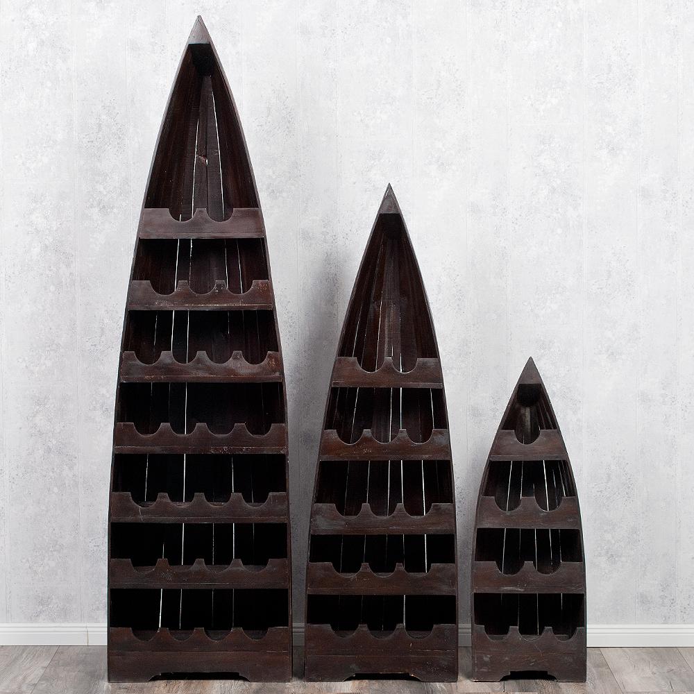 bootsregal vino m dark brown dekoregal boot regal weinregal 100cm shabby wein ebay. Black Bedroom Furniture Sets. Home Design Ideas