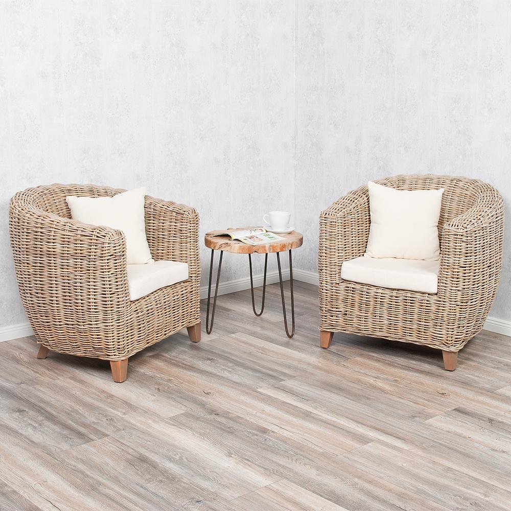 exklusiver rattan sessel stuhl poltrona incl sitzkissen und deko kissen ebay. Black Bedroom Furniture Sets. Home Design Ideas