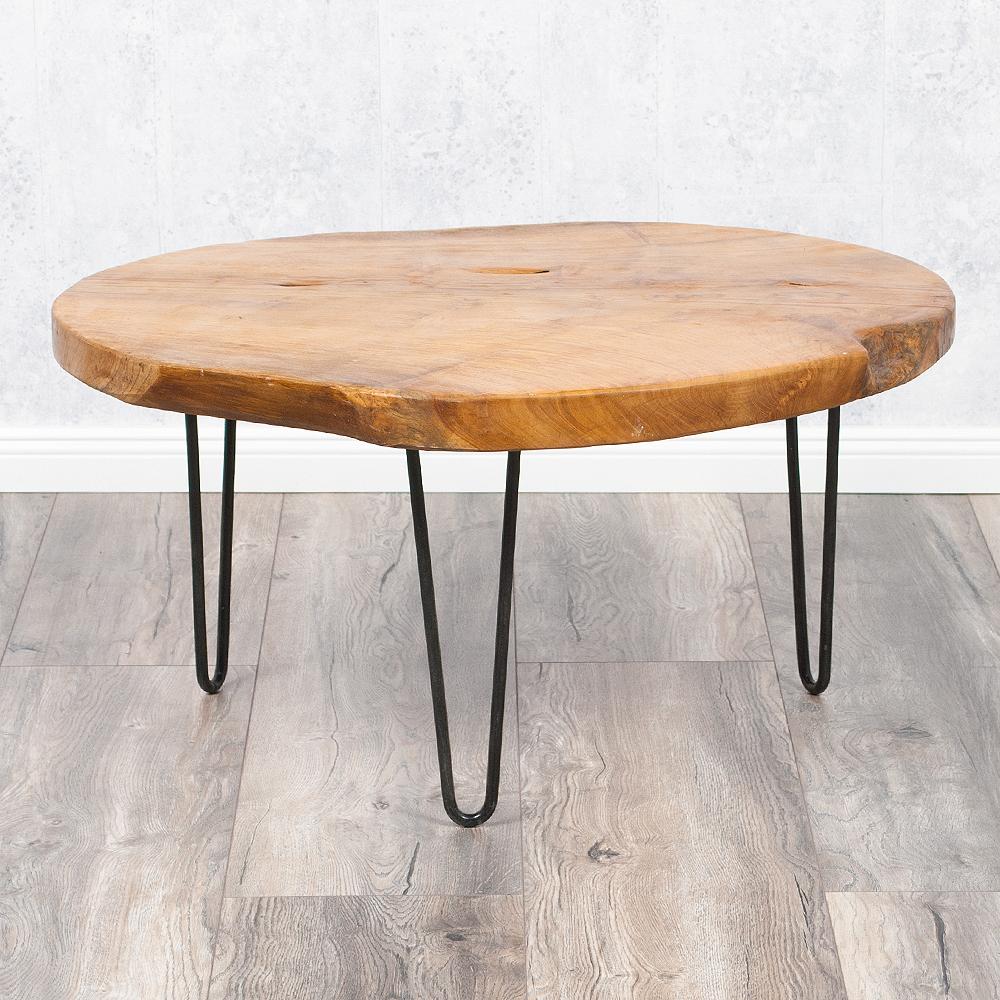 teakholz couchtisch beistelltisch james ca 70cm massivholz baumscheibe metall ebay. Black Bedroom Furniture Sets. Home Design Ideas