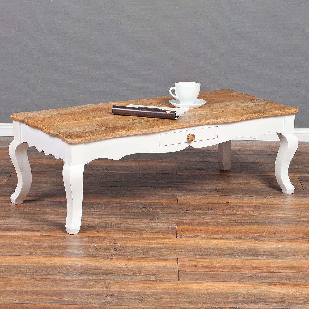 couchtisch aileen 120cm aus mangoholz mit schublade 6613. Black Bedroom Furniture Sets. Home Design Ideas