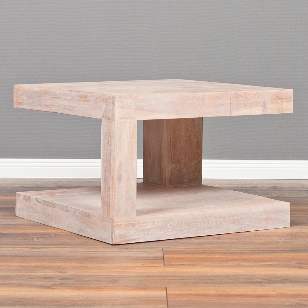 couchtisch shiva white wash 60x60 akazie massiv. Black Bedroom Furniture Sets. Home Design Ideas