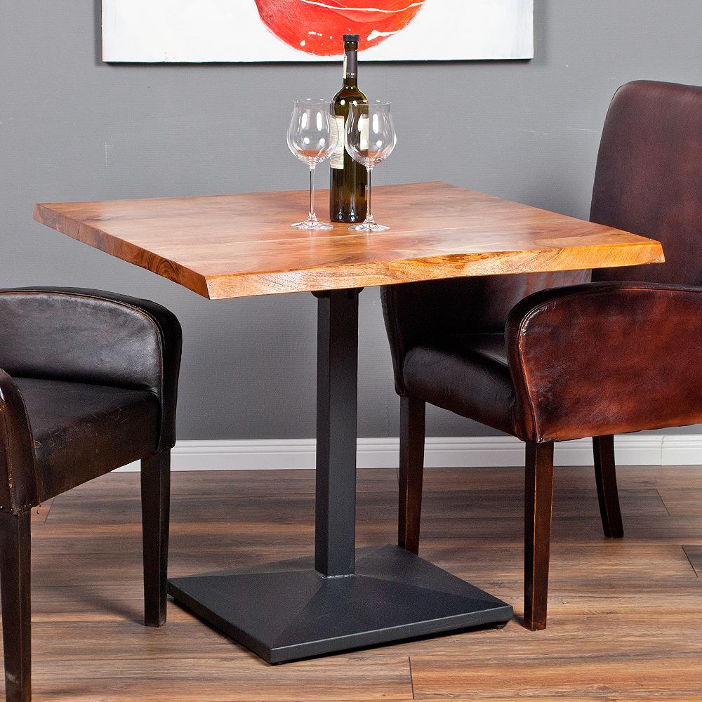 esstisch corrente 90x90cm aus massivem akazienholz metall massivholz tisch ebay. Black Bedroom Furniture Sets. Home Design Ideas