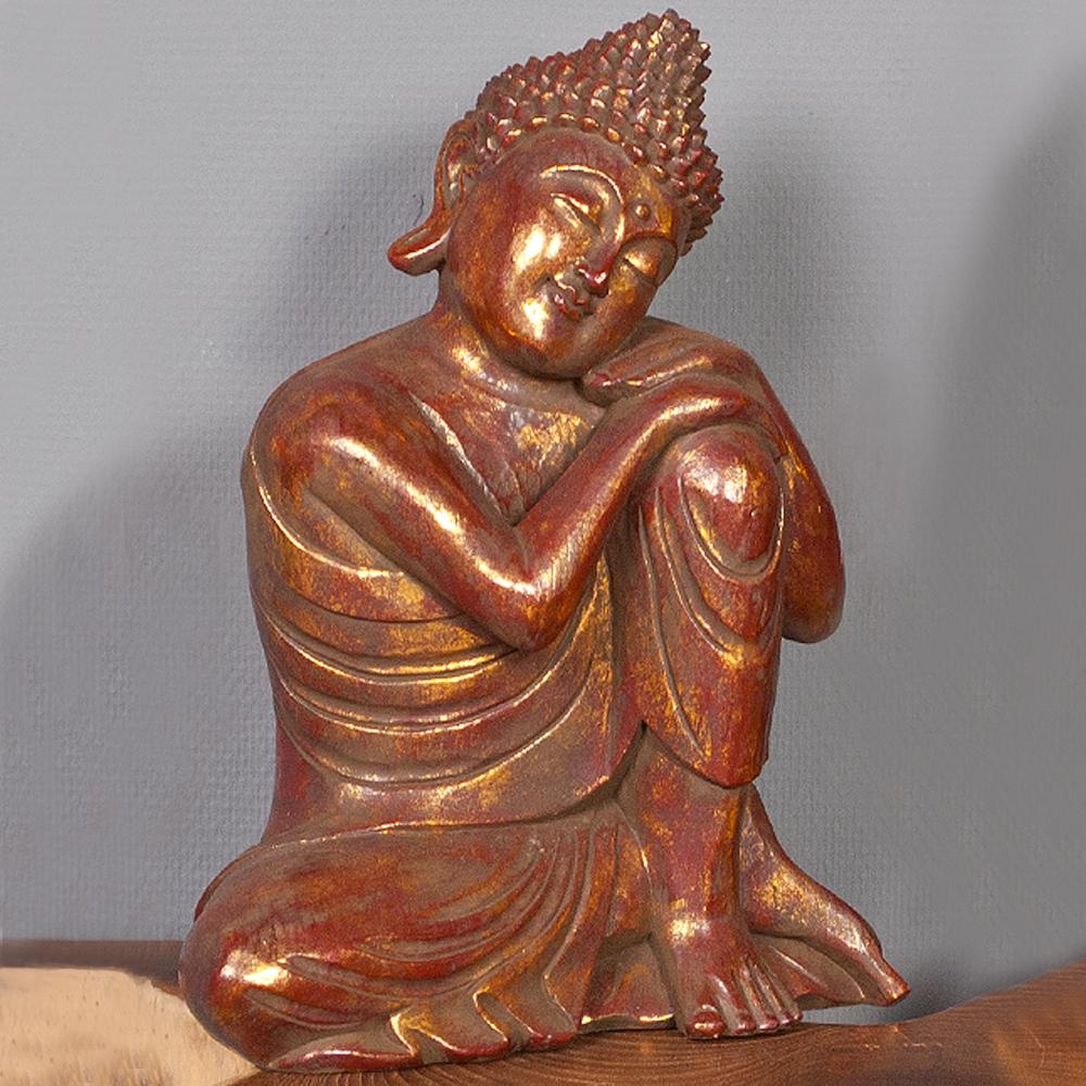 Buddha figur relax gold antik aus albasia holz 6628 for Buddha figur