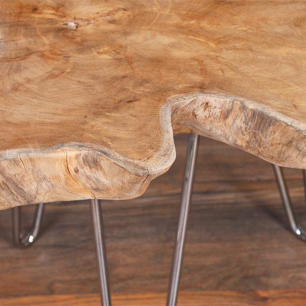 teak couchtisch beistelltisch cave ca 70cm massivholz metall silber 4251105614203 ebay. Black Bedroom Furniture Sets. Home Design Ideas