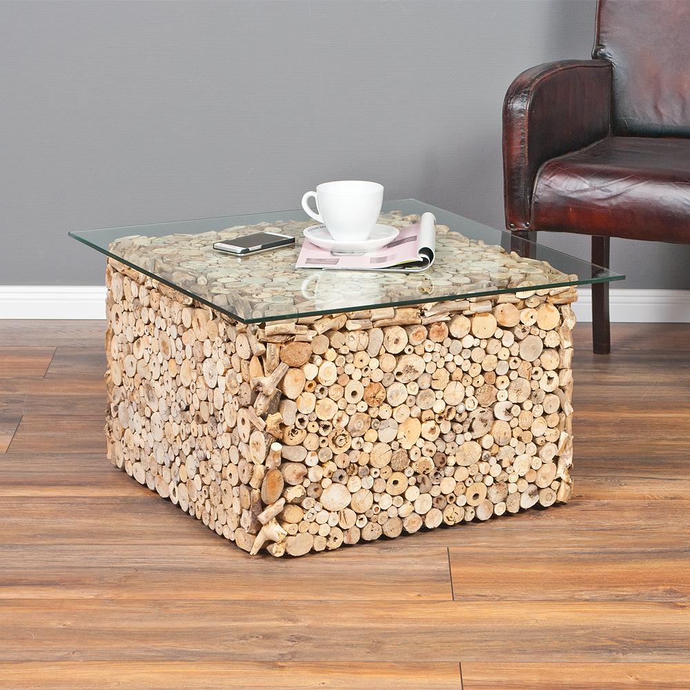 Couchtisch driftwood natural 70x70cm treibholz glas for Wohnzimmertisch treibholz