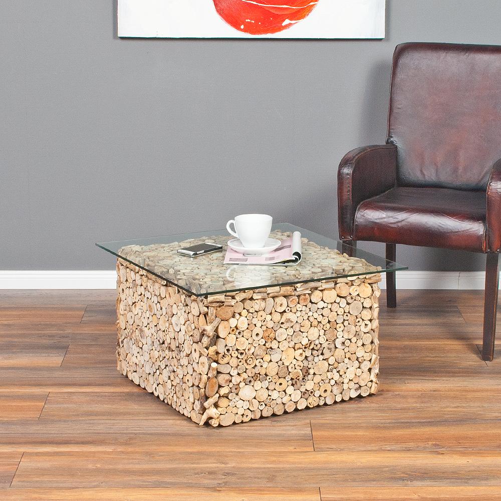 Couchtisch driftwood natural 70x70cm treibholz glas 6632 for Couchtisch treibholz