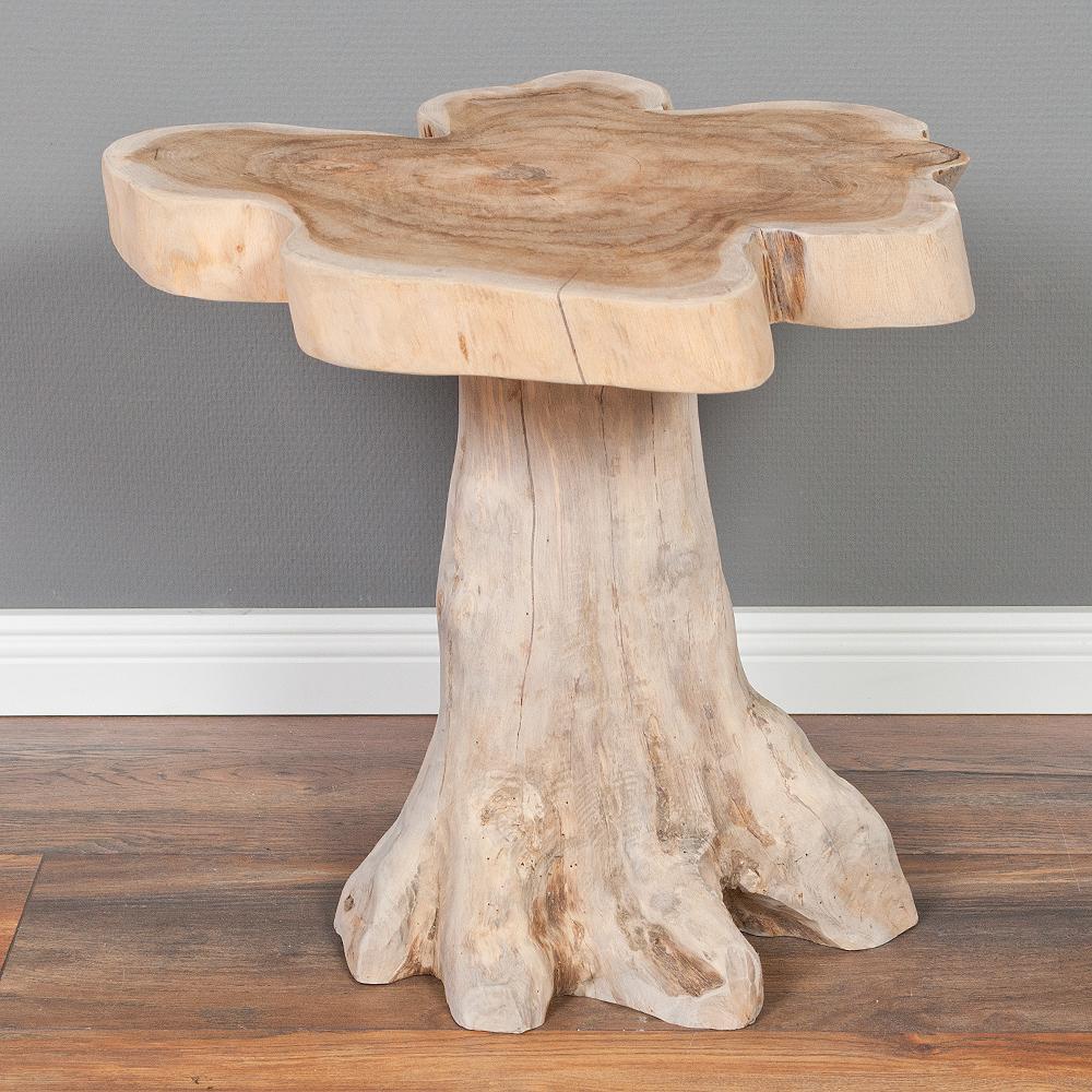 beistelltisch fungo c natural grey ca 50cm teak massiv nachttisch couchtisch ebay. Black Bedroom Furniture Sets. Home Design Ideas