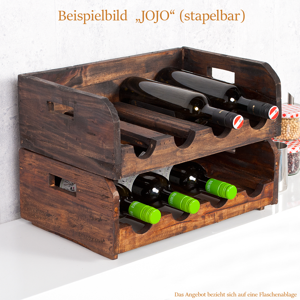 flaschenhalter jojo dark brown stapelbar recycled wood wein flaschenregal ablage ebay. Black Bedroom Furniture Sets. Home Design Ideas