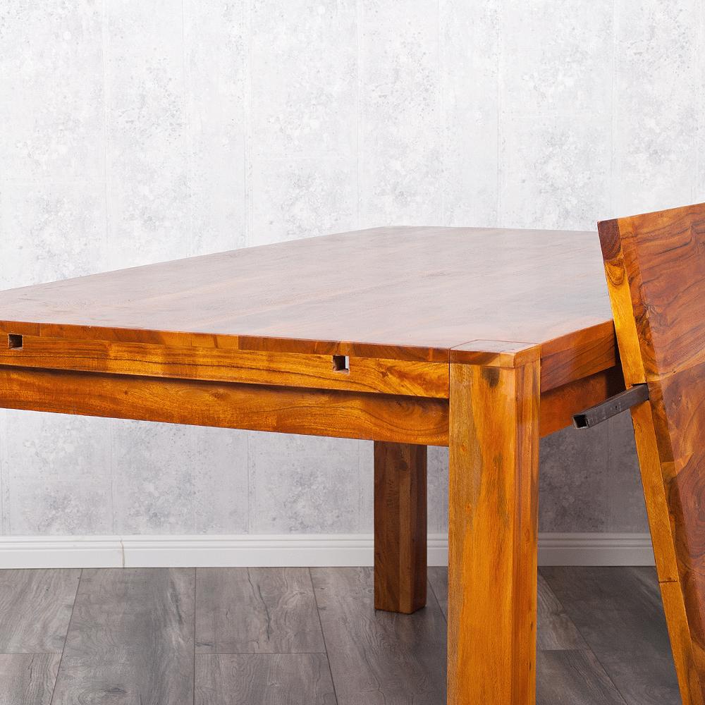 ausziehbarer esstisch pranzo 160 240x90cm mit ansteckplatten akazie stone m 6674. Black Bedroom Furniture Sets. Home Design Ideas