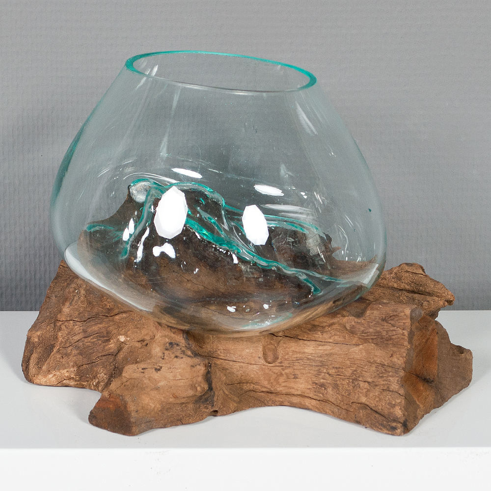deko glas drop 2 ca 20cm teak natural handarbeit. Black Bedroom Furniture Sets. Home Design Ideas