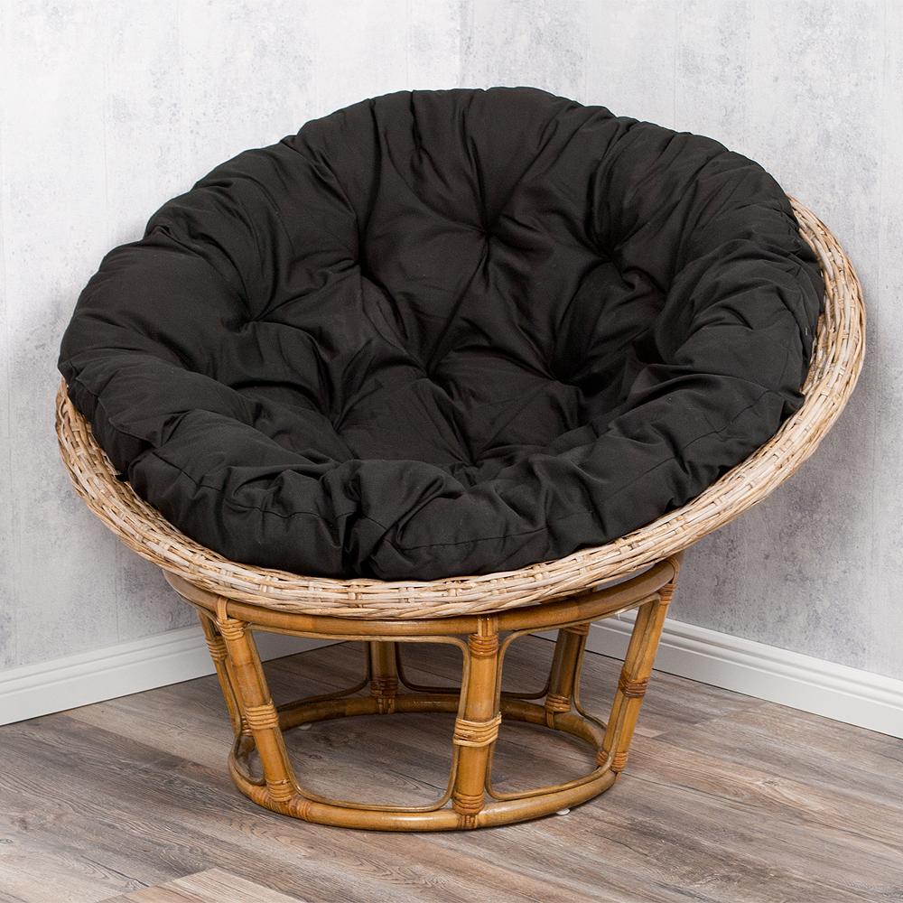 Rattan relax sessel java schwarz 100cm inkl kissenauflage for Relaxsessel schwarz