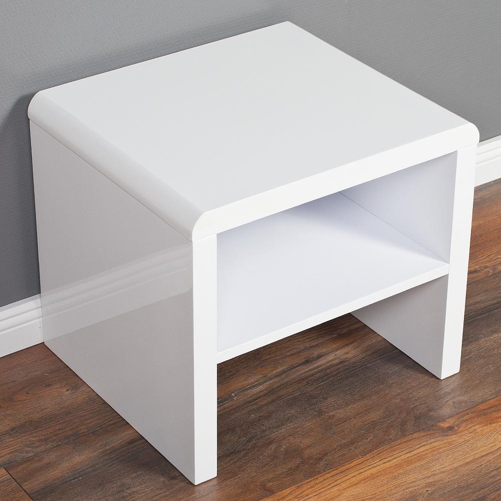 nachttisch charlie mit ablage hochglanz wei 855. Black Bedroom Furniture Sets. Home Design Ideas